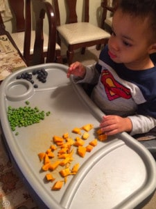 Child eating veggies