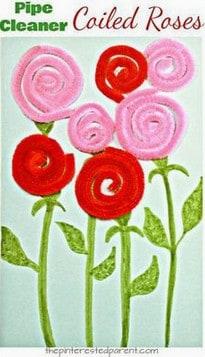 pipe cleaner rose easy preschool craft ideas