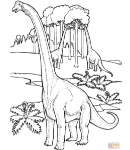 Brachiosauruses Near Tree coloring page | Free Printable Coloring Pages