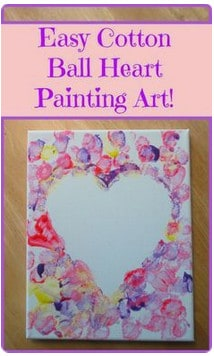 Cotton ball paint Hearts