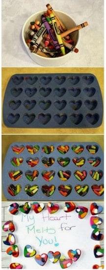 Crayon hearts craft