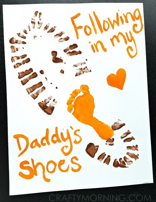 footprint arts and crafts, Easy fathers Day Crafts are the Holy Grail of Fathers Day With Young kids! It is perfect for fathers day gifts ideas from kids. These easy crafts for kids will be a treat