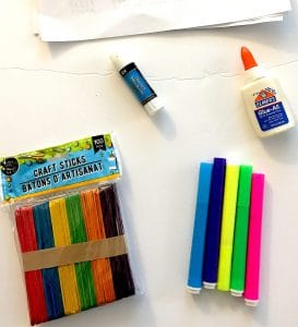 Supplies for popsicle stick rainbow project