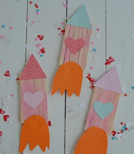 Rocket ship popsicle stick craft