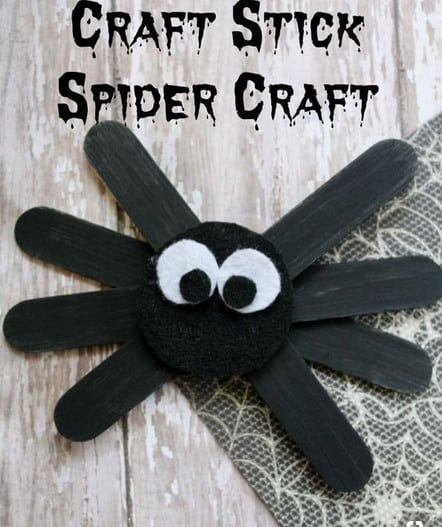 popsicle stick halloween spider