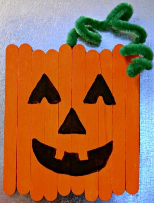 popsicle stick halloween pumpkins