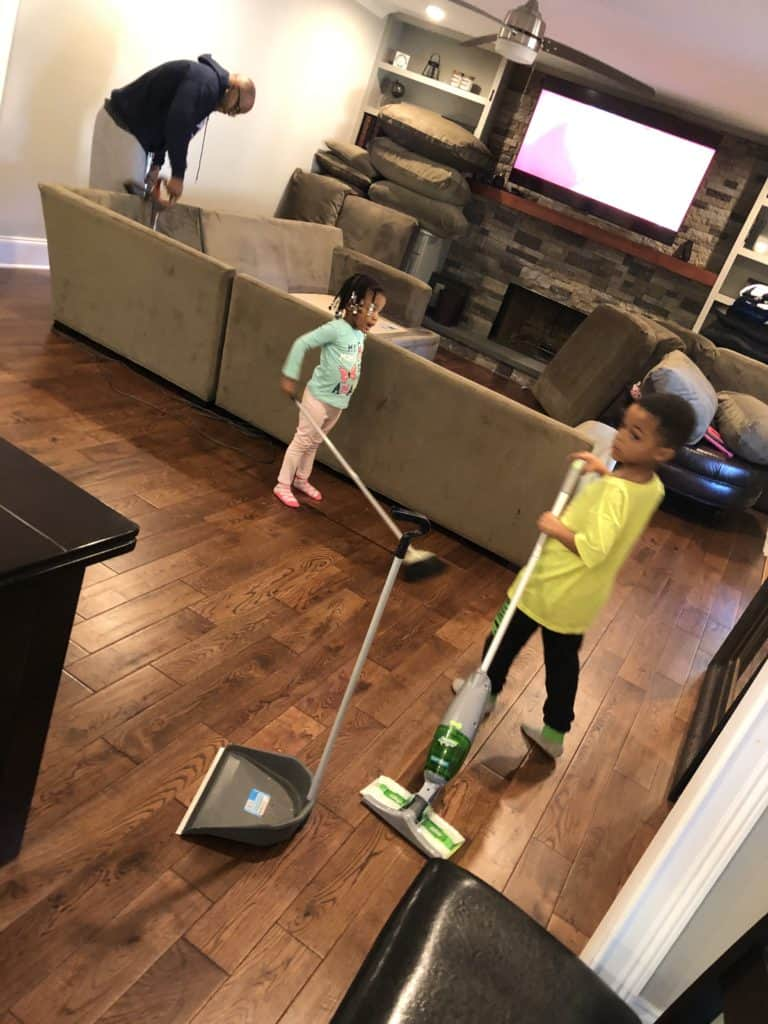 keep toddlers busy cleaning