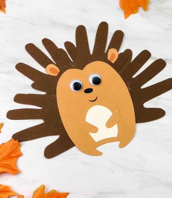 Hand Print Hedgehog Craft