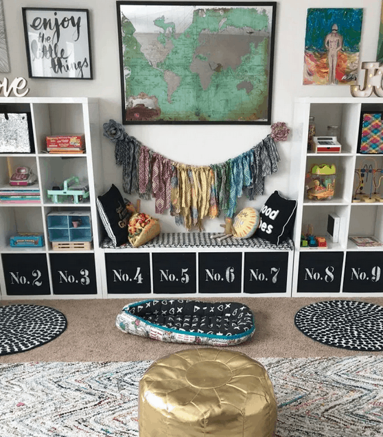 Mommy Experts Share 50 Playroom Storage Ideas That Will Turn Your Child's Messy Play Space Into An Organized and Safe Play Haven For Kids. Small Playrooms Too.