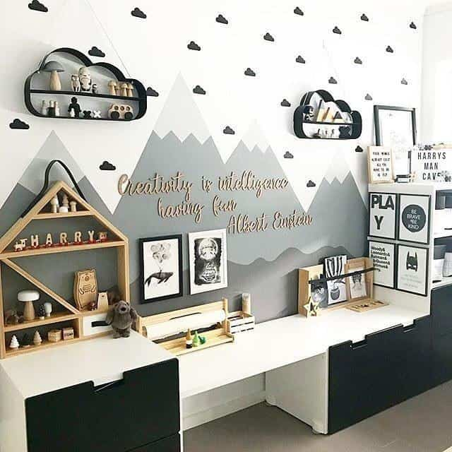 I love this black and white playroom idea or nursery idea! Check out 50 amazing playrom storage ideas!