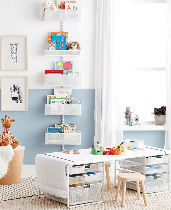 This amazing playroom storage look is amazing! Perfect storage for the kids. Mommy Experts Share 50 Playroom Storage Ideas That Will Turn Your Child's Messy Play Space Into An Organized and Safe Play Haven For Kids. Small Playrooms Too.