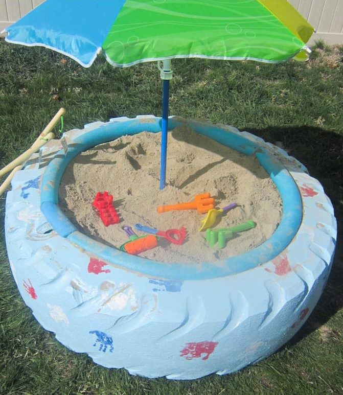 diy tire sandbox, kid friendly backyard ideas on a budget