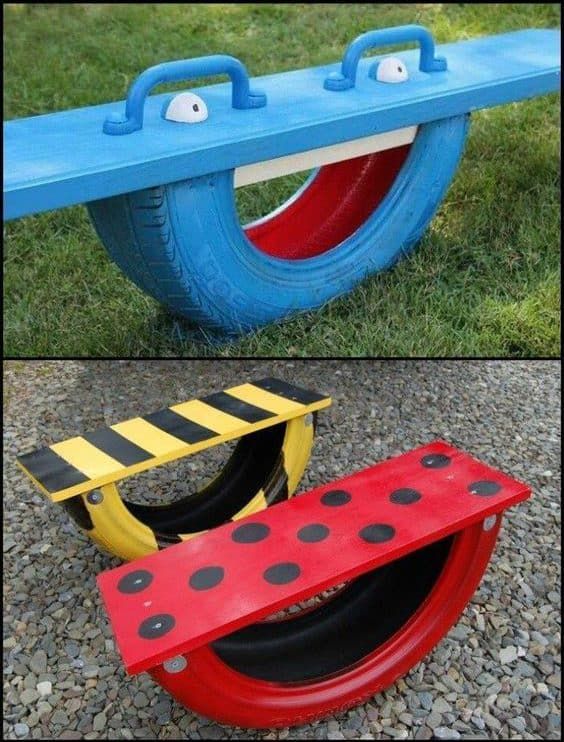 repurposed tire seesaw
