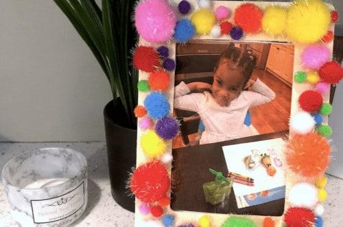 easy diy crafts, pom pom crafts, toddler crafts, frame crafts, keepsake crafts, toddler activities, preschooler activities, quarantine activities, picture frame crafts, arts and crafts for kids, arts and crafts ideas, pom pom craft ideas