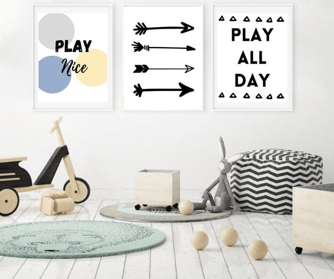 These Free Wall Art Printables are Simply Gorgeous and Super Useful for any playroom design, nursery, or kids room decor. Use for kids, playroom ideas, or nursery ideas.