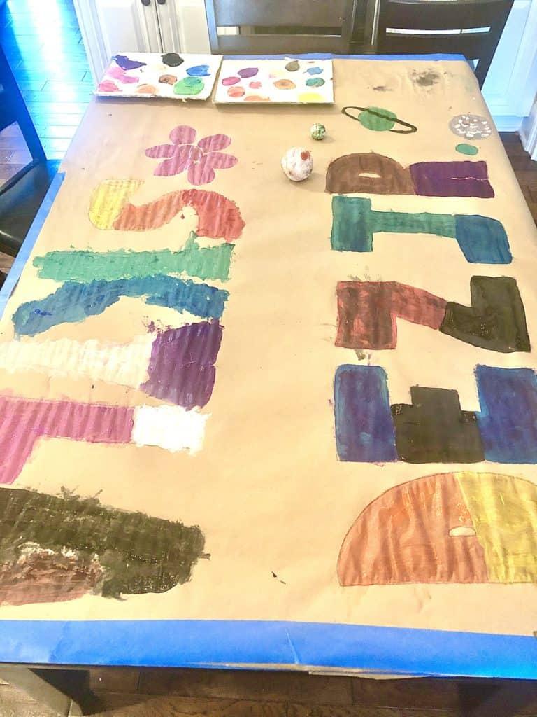 Giant Name Preschool Painting Activity