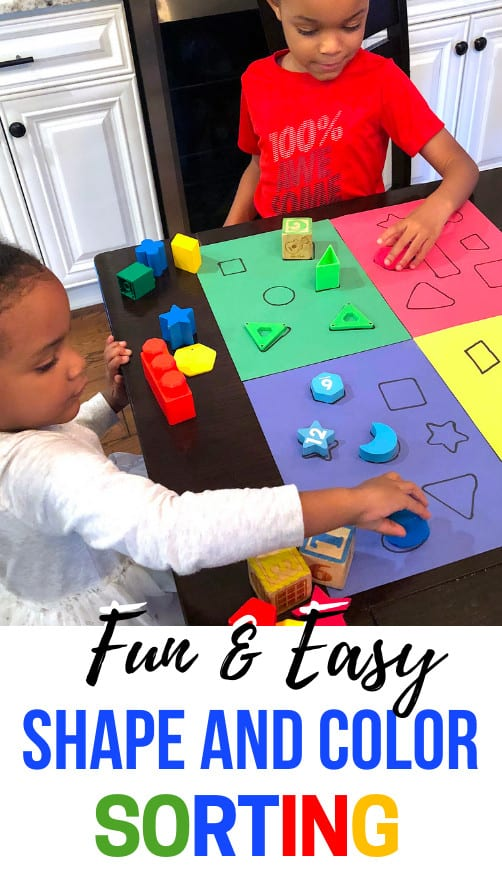Toddler Learning Activities that involve shapes are an absolute must. Easy toddler activities that include colors are awesome as well. This sorting activity combines the two!