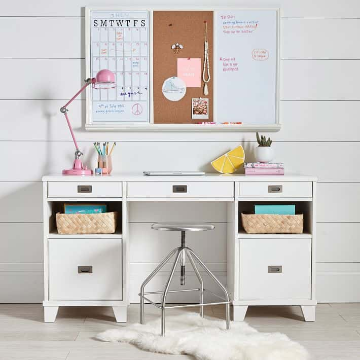 I LOVE this Pottery Barn  Combination Cork Board and Bulletin Board! Super Helpful For Distance Learning. Check Out My Complete List Of School Supplies To Get Your Child Prepapred For A Successful Year!