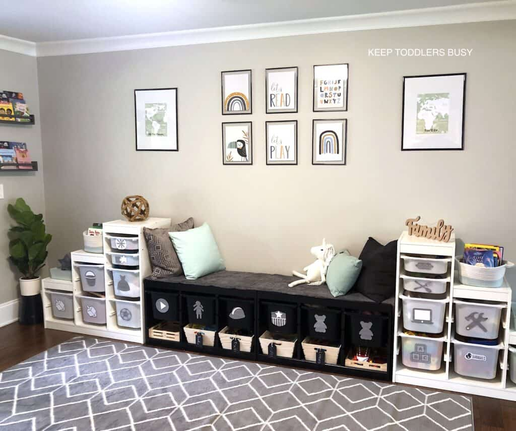 My Kid's Messy, Half Organized, Play Space Gets An IKEA Playroom Storage Makeover Into a Chíc, Organized, Kid's Room! We Painted Trofast Units Using Playrooms Ideas With Design Budget In Mind