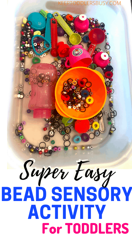 Looking for an Awesome Sensory Activity for Toddlers? Well This Bean Sensory Activity Is An Absolute Must! This Bead Sensory Bin Activity Is A Super Easy Way To Have Tons of Fun.