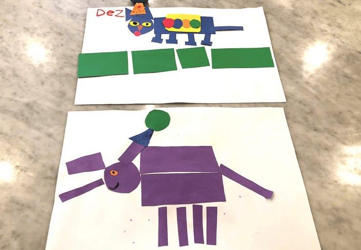 preschool shape activities elephant and pete the cat
