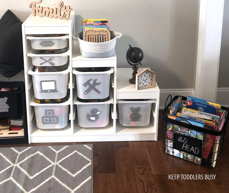 IKEA Playroom Storage Makeover Reveal book crate and labels