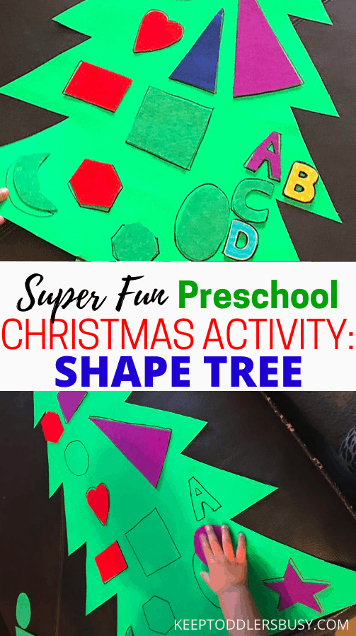 Make Your Holidays With The Kids Super Memorable By Having Fun With These Awesome Preschool Christmas Activities! This Shape Tree Idea Will be An Instant Hit.