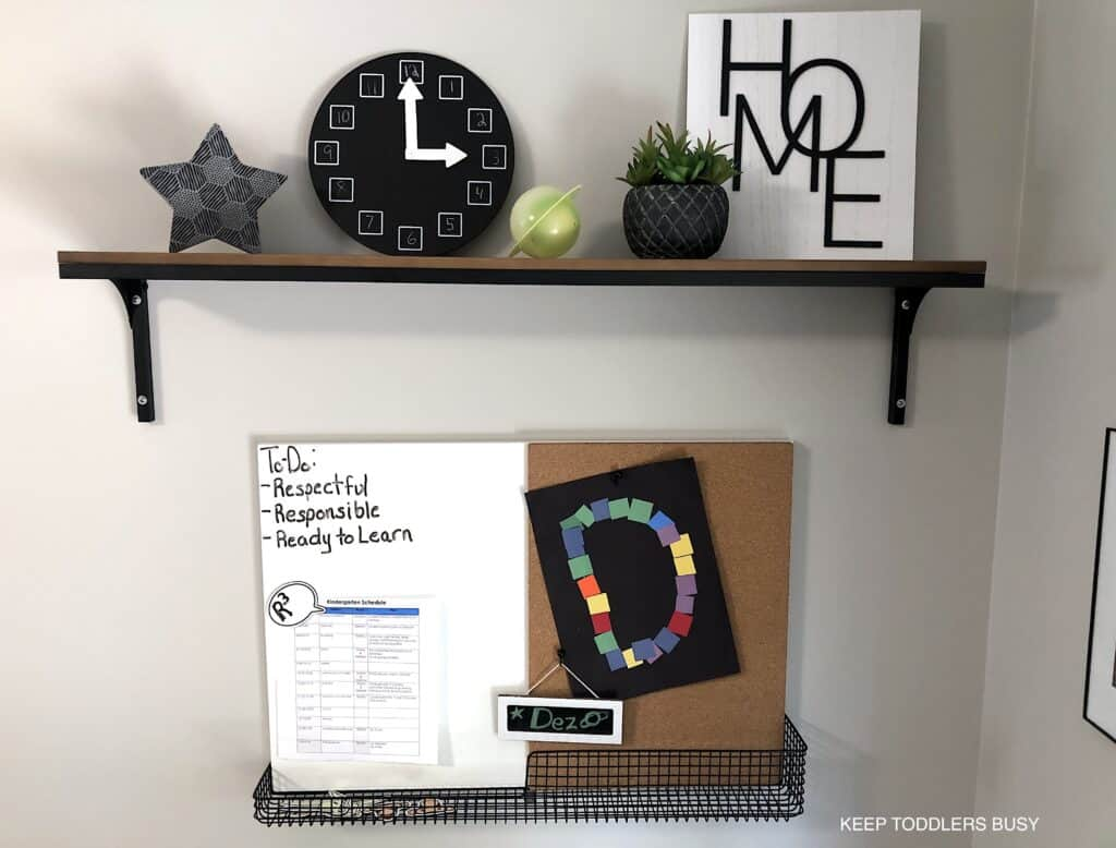 Check Out Part Two of The Kid's Homework Station and Playroom Storage Makeover. It's Now A Home Work Space That's Perfect For Home School or After School Activities and Great For Small Spaces.