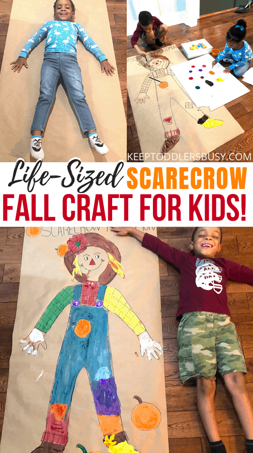 This Giant Scarecrow is Such A Fun Fall Craft Idea For Kids! Fall Crafts Are Awesome, But This Activity Is One Of The Best. It's Great For All Ages and Occupies The Kids For A Great Family Activity.