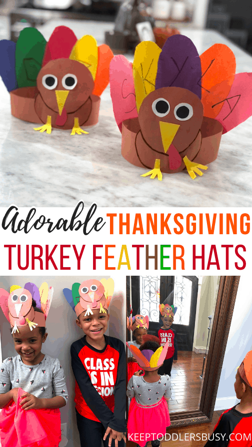 This Adorable Thanksgiving Turkey Craft Will Be A Hit With The Kids! This Cool Turkey Hat with Name Recognition Activity Inspires Just Plain Fun and Learning. Let Your Kids Wear Them on Thanksgiving!