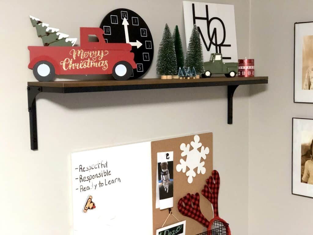 We decided to add a few subtle Christmas Decor touches to the kid's playroom and homeschool room for Holidays! This Will be a Great Place To Do Their Christmas Crafts and Christmas Games.
