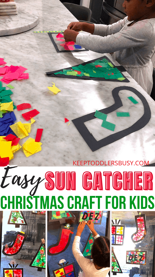 Christmas Crafts just Make This Time of The Year Special! This Easy Suncatcher Craft Kids Will Love Is Super Fun For The Holidays! #christmascrafts #christmas #Christmascraftsforkids #suncatchers
