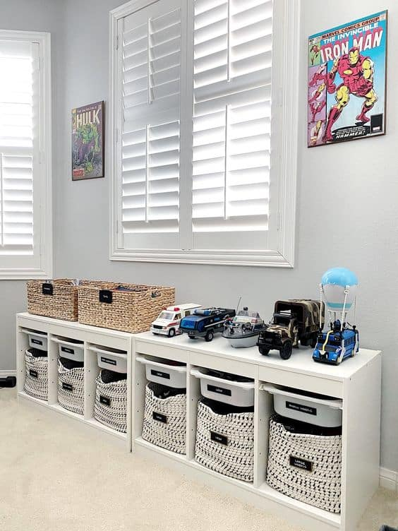 Check Out These Genius Playroom Organization Ideas For Boys! These Are Amazing Ideas For Craft Storage, Toy Storage, And Room Ideas Specifically For Our Boys! #playroomideas #playroomorganization