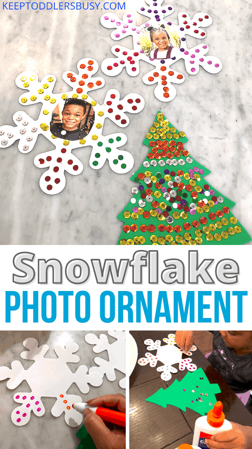 Photo Ornament Craft for Kids Make This Time of The Year Special! This Activity Uses Foam Snowflakes And Color Matching and To Create A Fun Craft. #christmasornaments #diyornaments #colormatching
