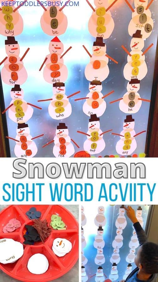 winter snowman Sight Word Activity