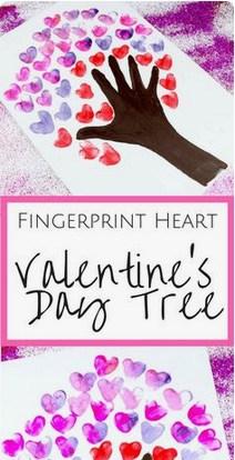 Valentine heart tree craft