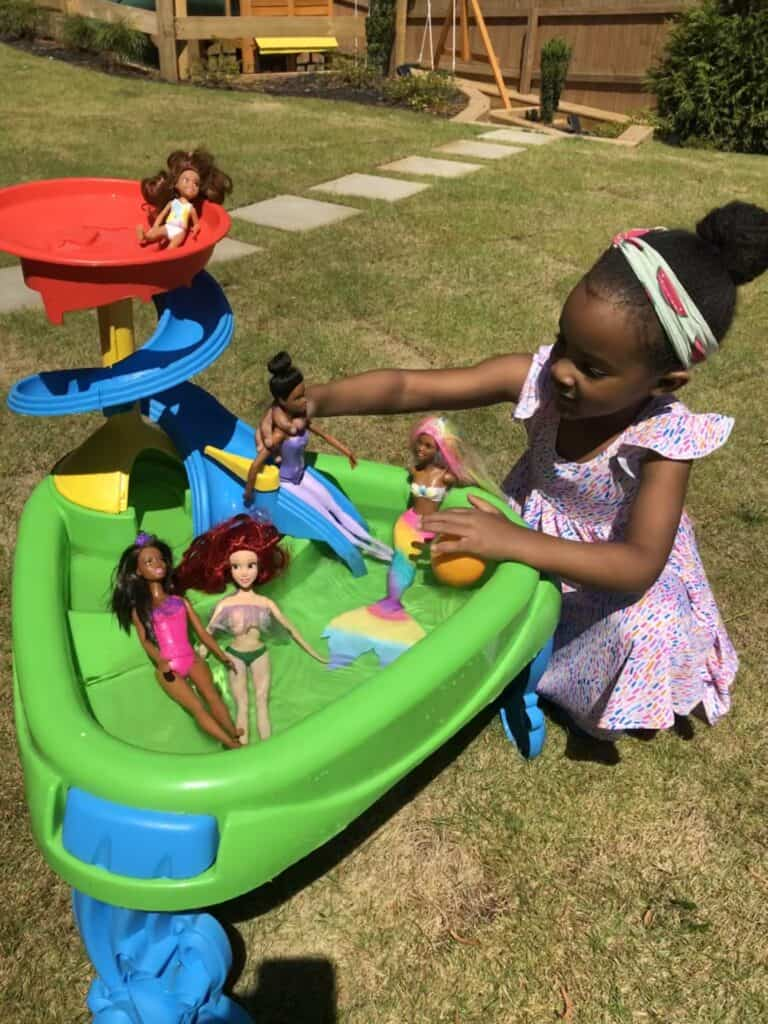 water table barbie pool party