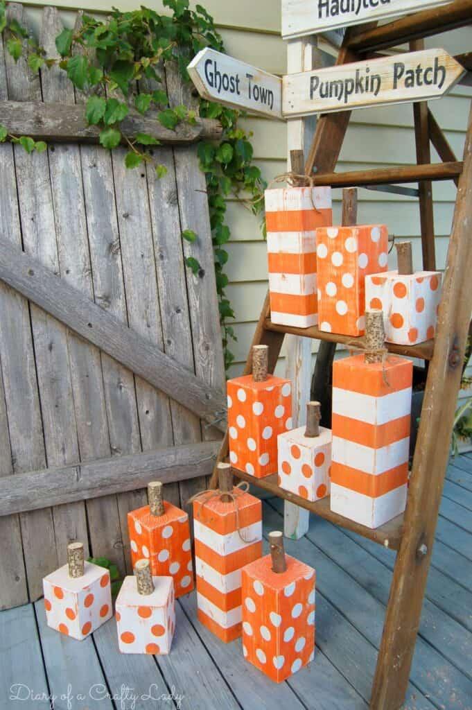 Hand-Painted Wooden Post Pumpkins